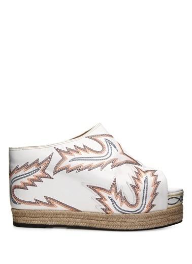 Toga Pulla Dolgu Topuklu %100 Deri Sandalet Beyaz